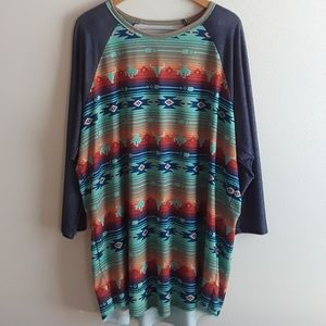 Western Print T Shirt Size 3X